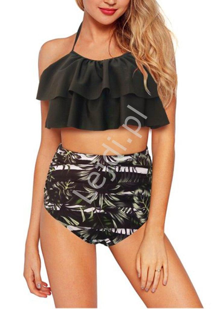 Image of Bikini damskie czarno białe z palmami 5061