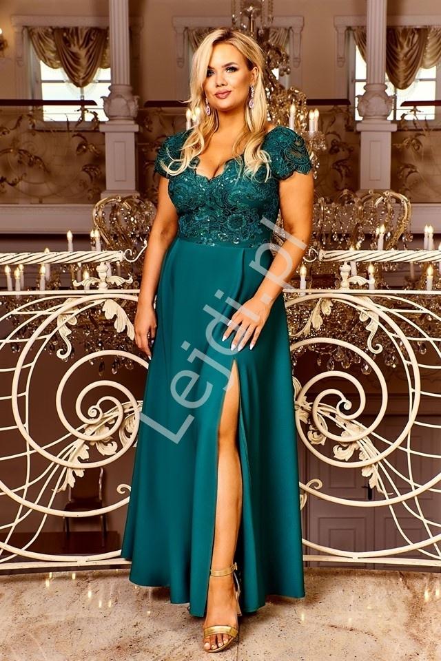 Szmaragdowa sukienka wieczorowa z rozcięciem ukazującym nogę crystal 2