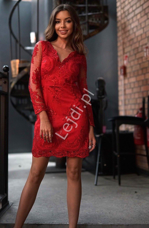 Czerwona sukienka, obcisła koronkowa wieczorowa diana