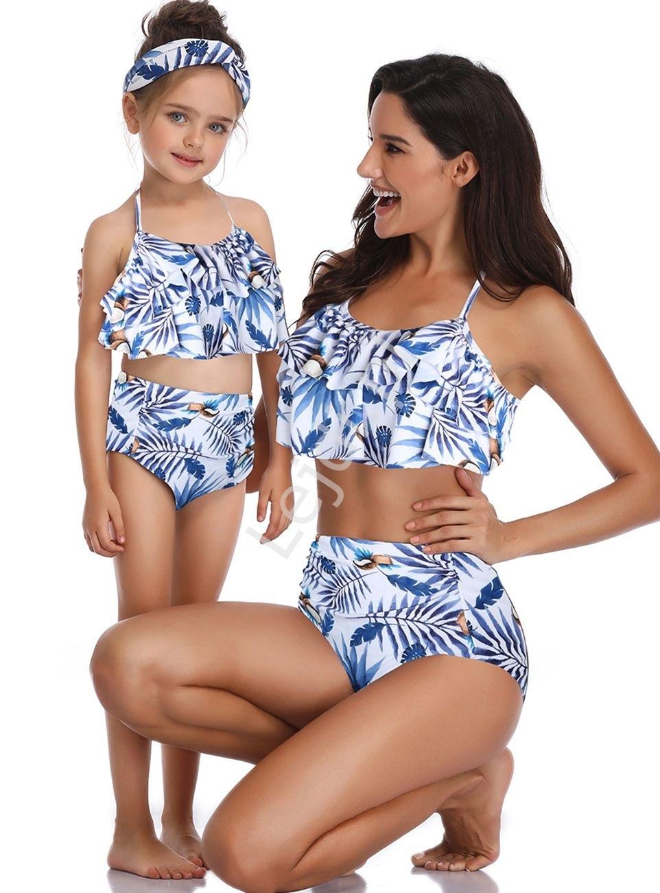 Image of Białe bikini mama córka z niebieskimi listkami i kokosami