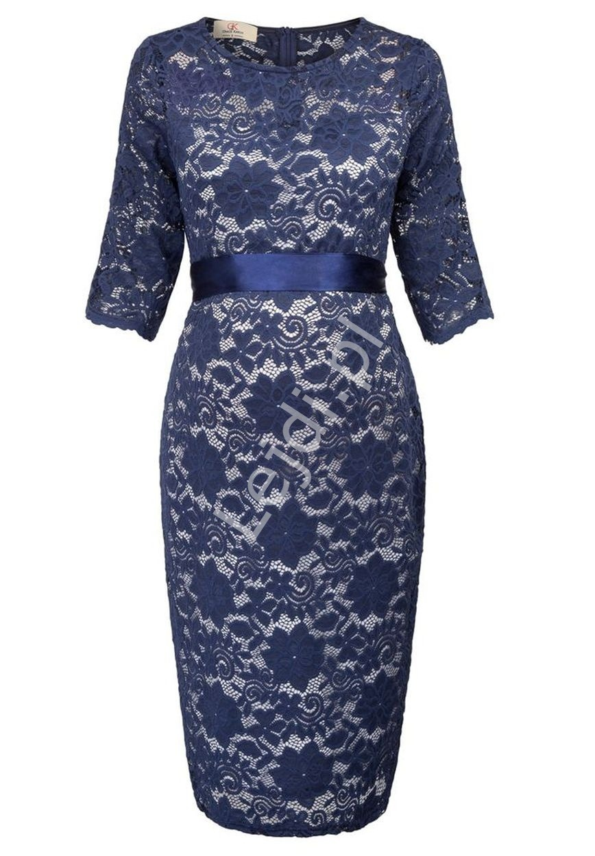 Granatowa koronkowa sukienka z satynowym paseczkiem, uniwersalna  ciążowa 1026