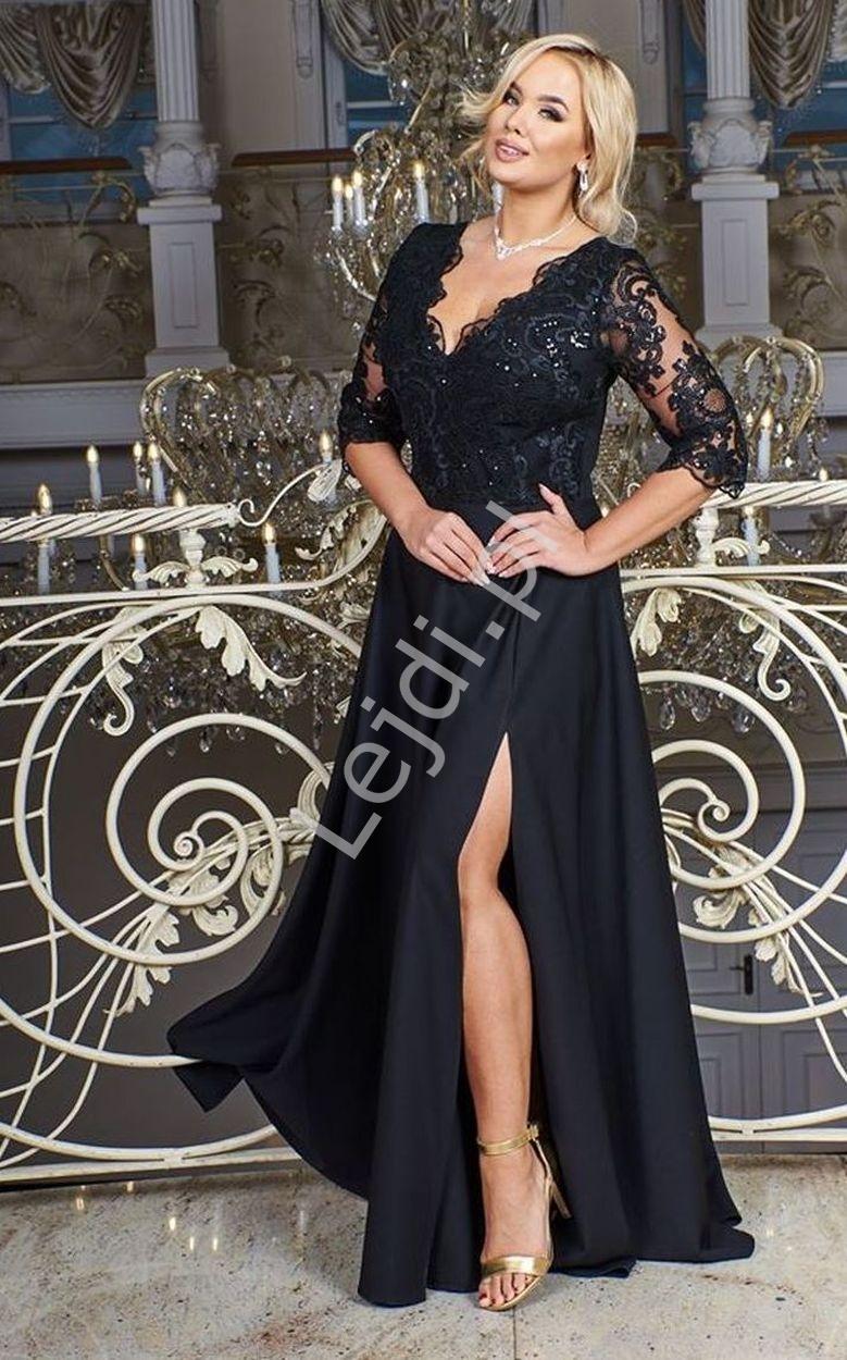 Czarna sukienka plus size z koronkową górą z cekinami - crystal 3/4
