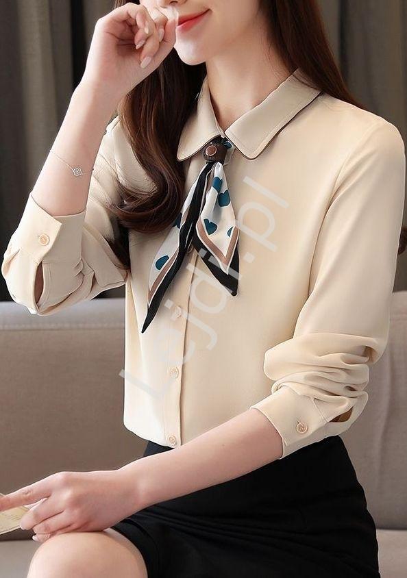 Elegancka koszula z apaszką 4609