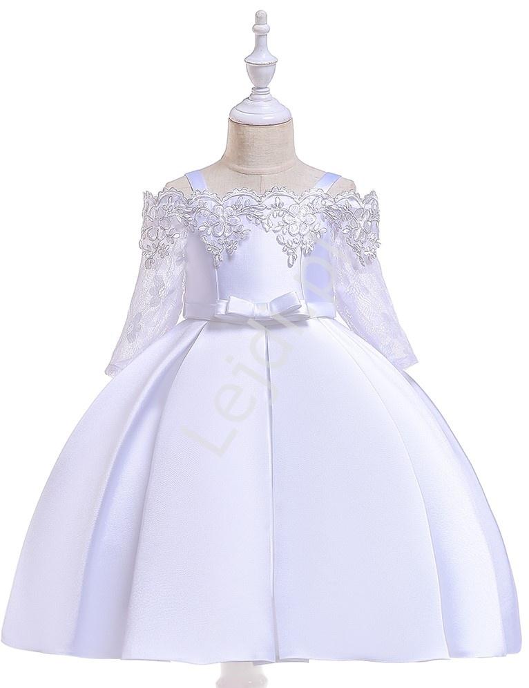 Sukienka na komunię z koronkowym rękawem satynowo bawełniana biała 083