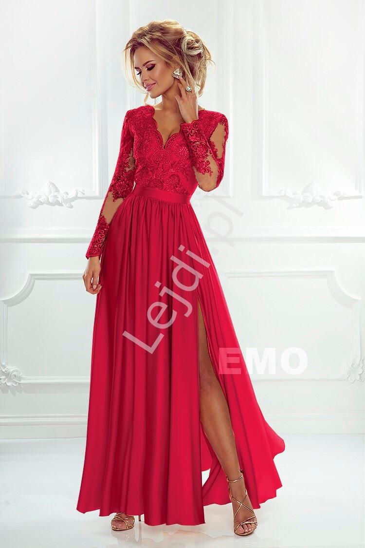 Sukienka na wesele z długim rękawem - luna czerwona