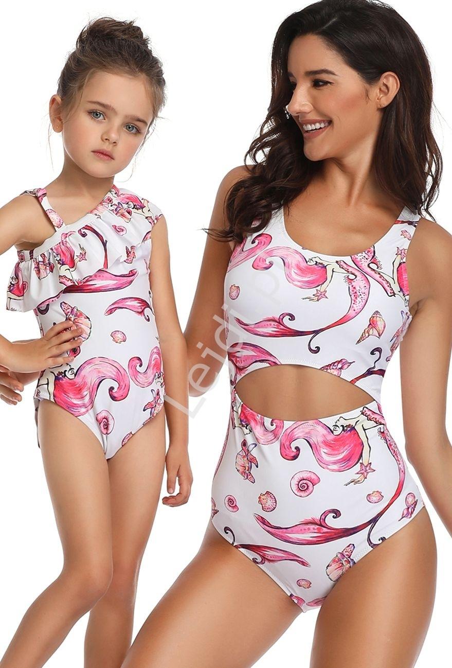 Image of Jednoczęściowy strój mama i córka w syrenki, basen, plaża