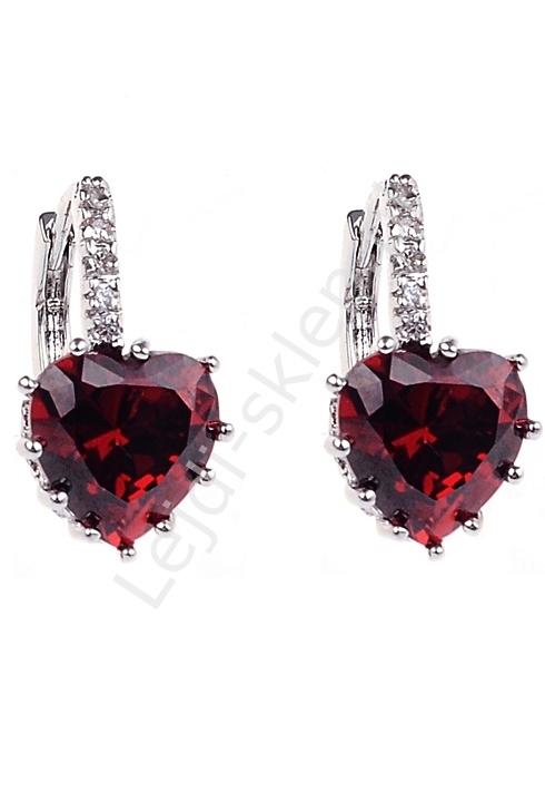 Kolczyki serduszka kryształki, swarovski czerwone