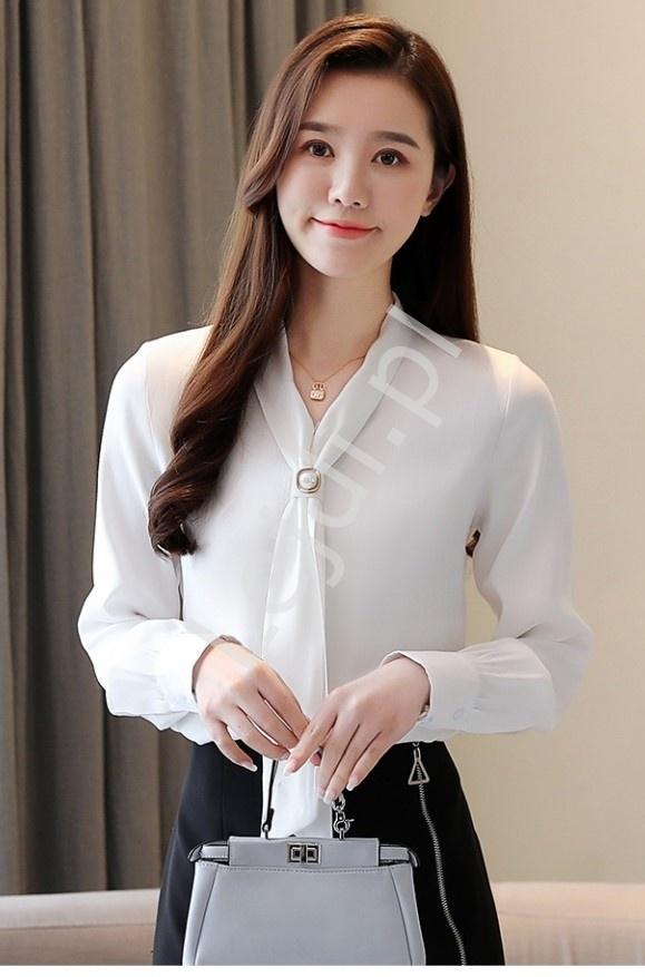 Elegancka bluzka z satynowym połyskiem w kolorze złamanej bieli 7968