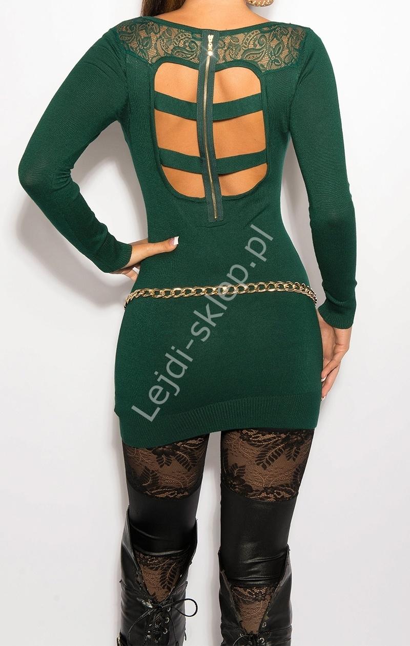 Zielona sukienka z paskami z tyłu i imitacją kołnierzyka, 8031