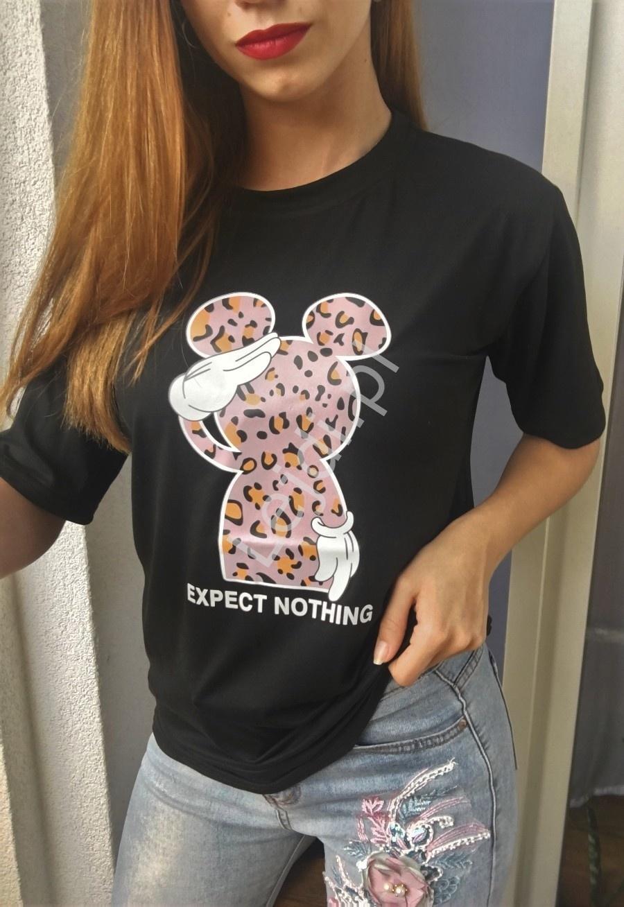 Czarna koszulka damska oversize z myszką miki w cętki