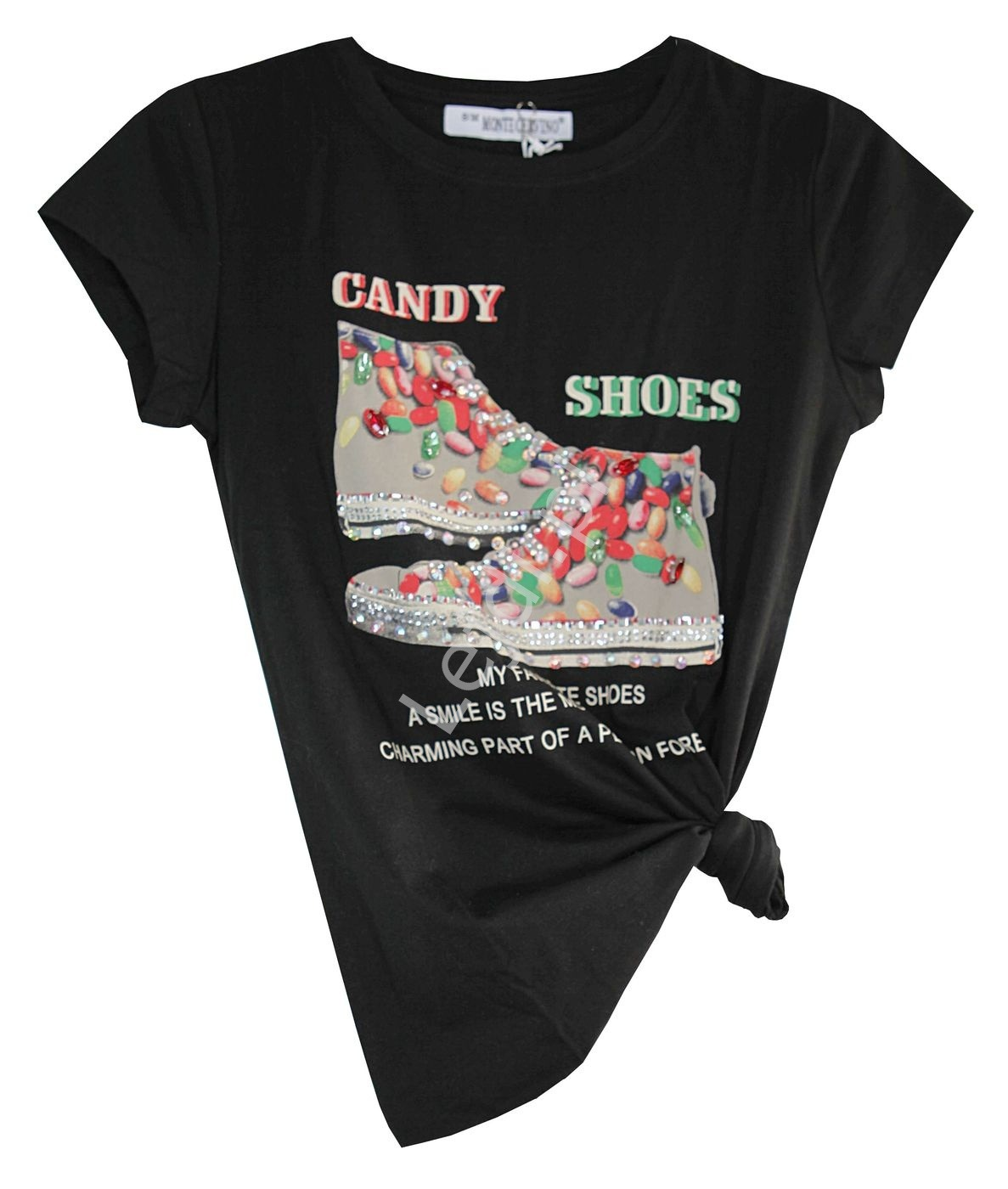 Czarny t-shirt z trampkami candy shoes