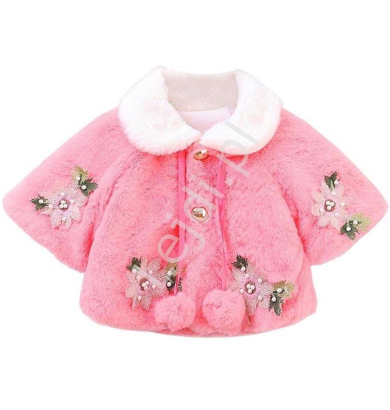 Image of Różowe futerko dla dziewczynek z kwiatowymi aplikacjami