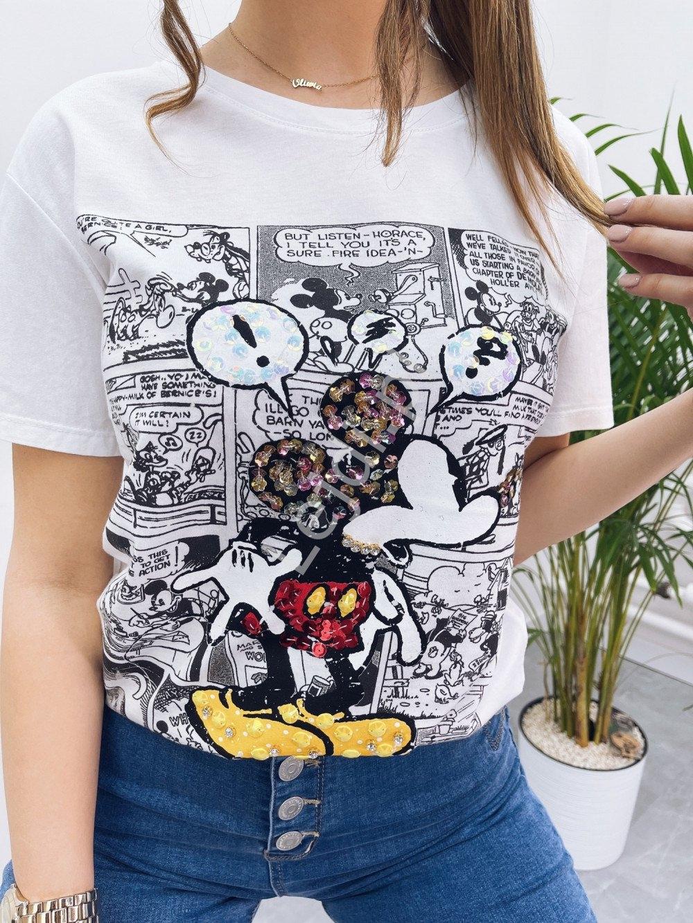 Image of Bawełniana koszulka damska komiks myszka miki z cekinami i koralikami