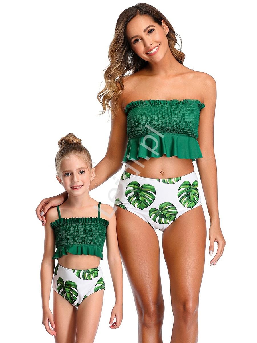 Image of Bikini mama córka z zielonymi liściami 0135