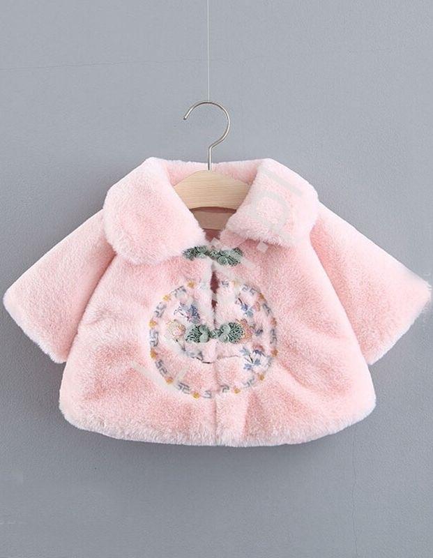 Image of Jasno różowe sztuczne futerko dla dziewczynki z haftami 461
