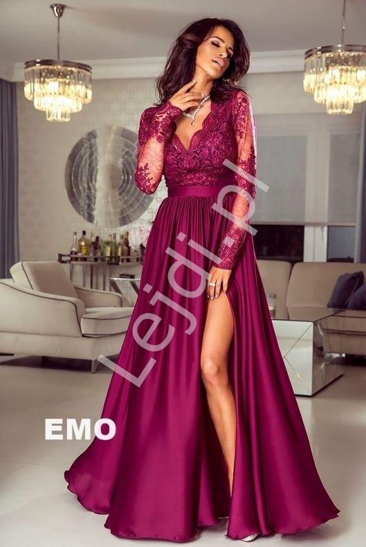 Długa burgundowa suknia wieczorowa z rozcięciem - luna