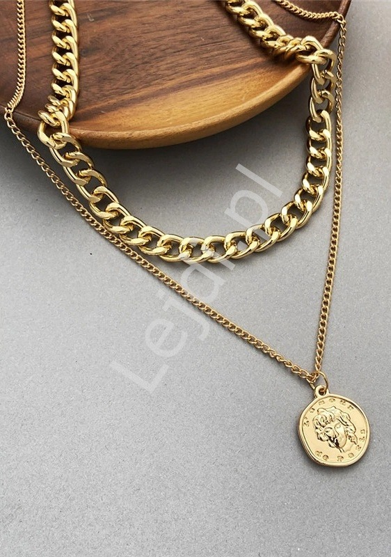 Naszyjnik  łańcuch ze złotą monetą