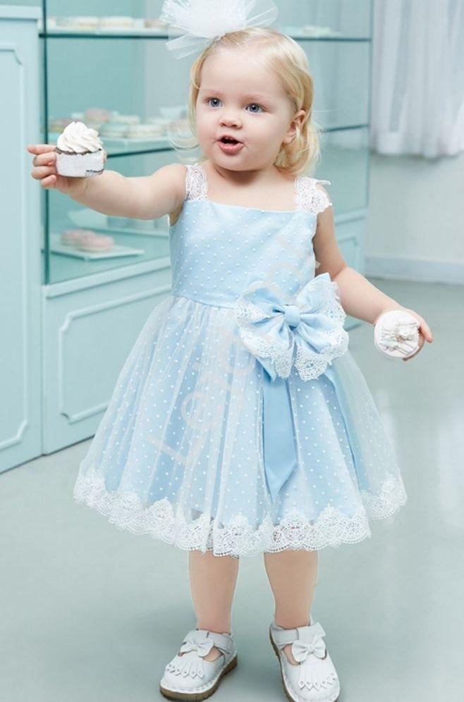 Sukienka dla dziewczynki, błękitno biała