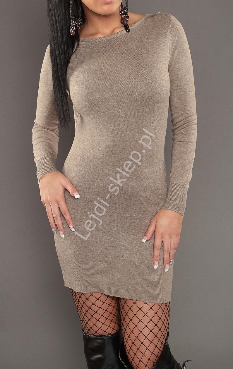 Dzianinowa beżowa sukienka z tiulowymi plecami i koronką s901