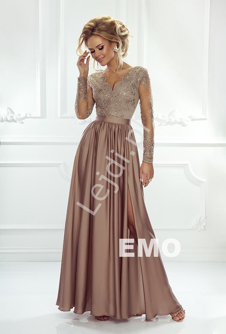 Sukienka na wesele emo luna z długim tiulowym rękawem obszytym gipiurową koronką | karmelowa