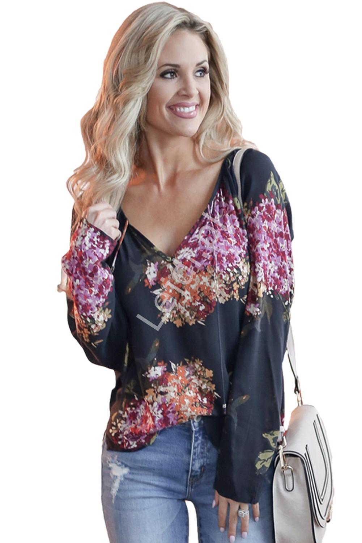 Szyfonowa bluzka damska w kolorowe kwiaty 099