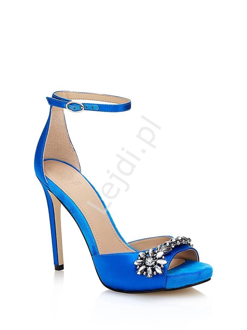 Sandały guess alair niebieskie zdobione kryształkami