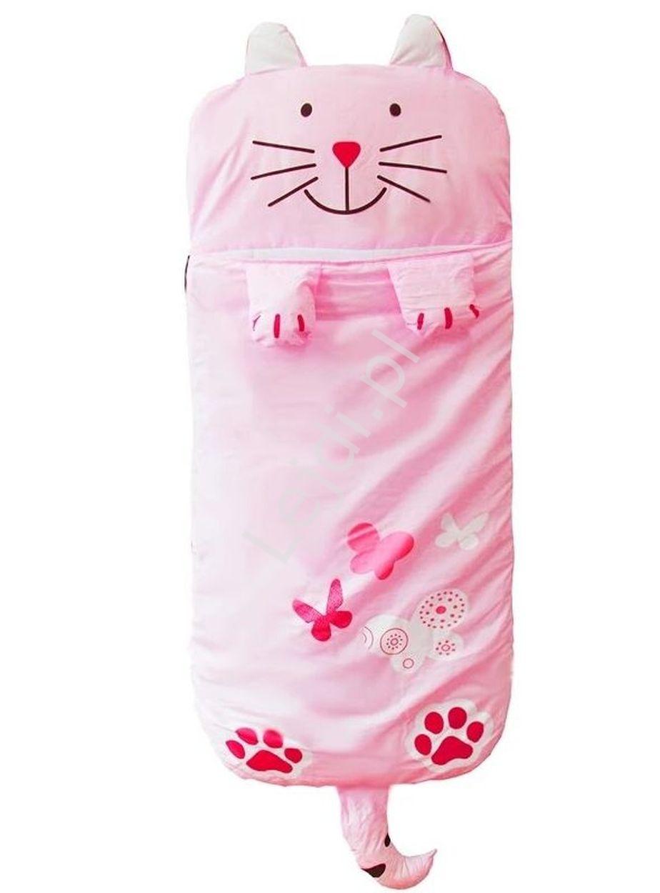 Image of Różowy śpiwór dla dziewczynki, śpiworek do spania kot