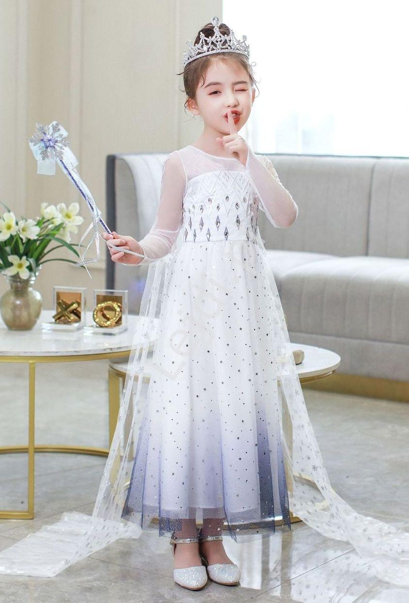 Image of Dziecięca sukienka elza z krainy lodu, elsa przebranie na bal karnawałowy k05