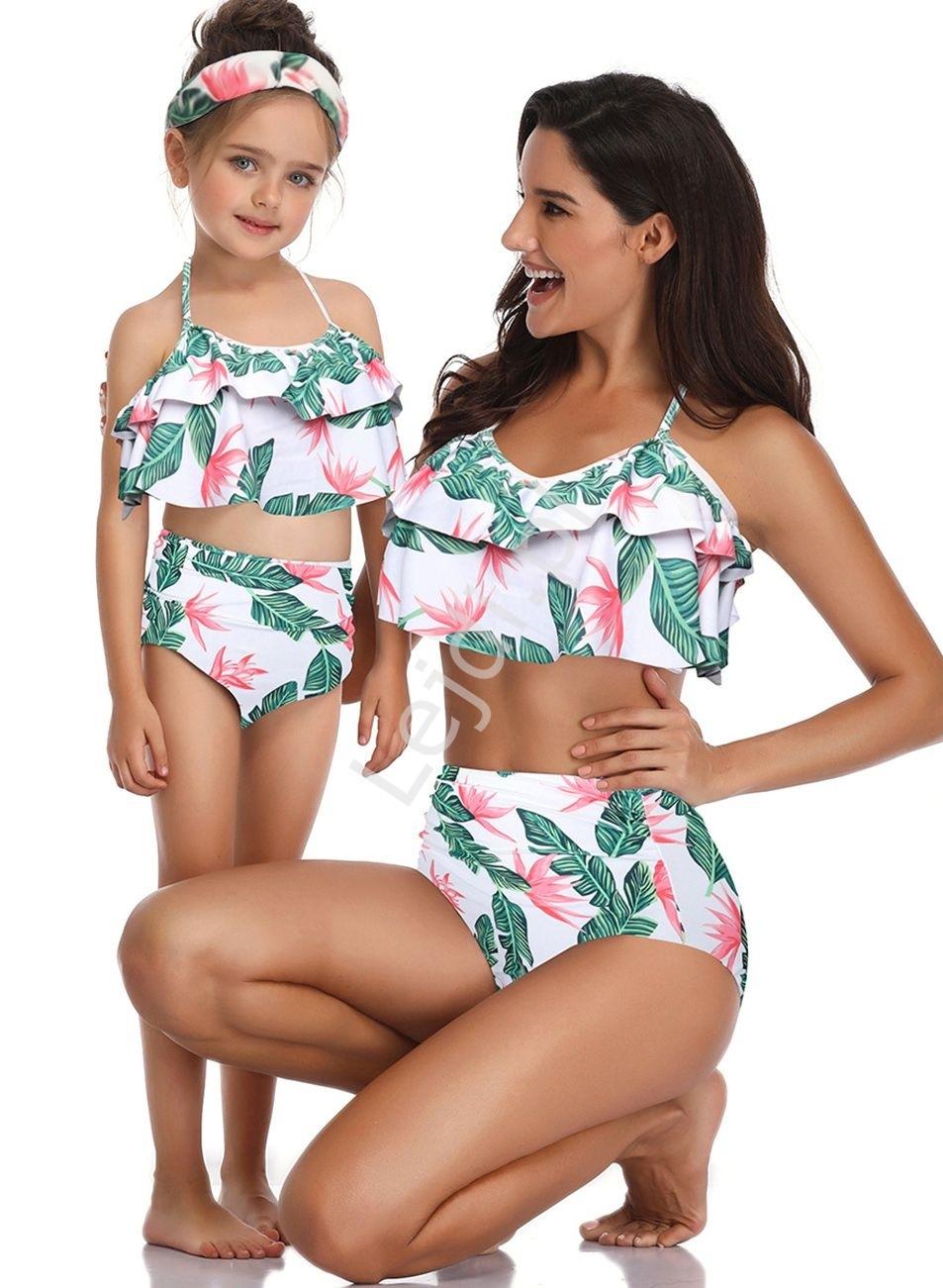 Image of Bikini dla mamy i córki z zielonymu liściami