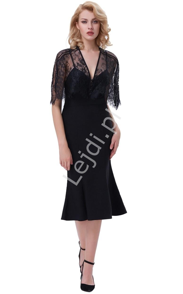 Czarna sukienka na ramiączkach z koronkową narzutką, długość do kolan 330