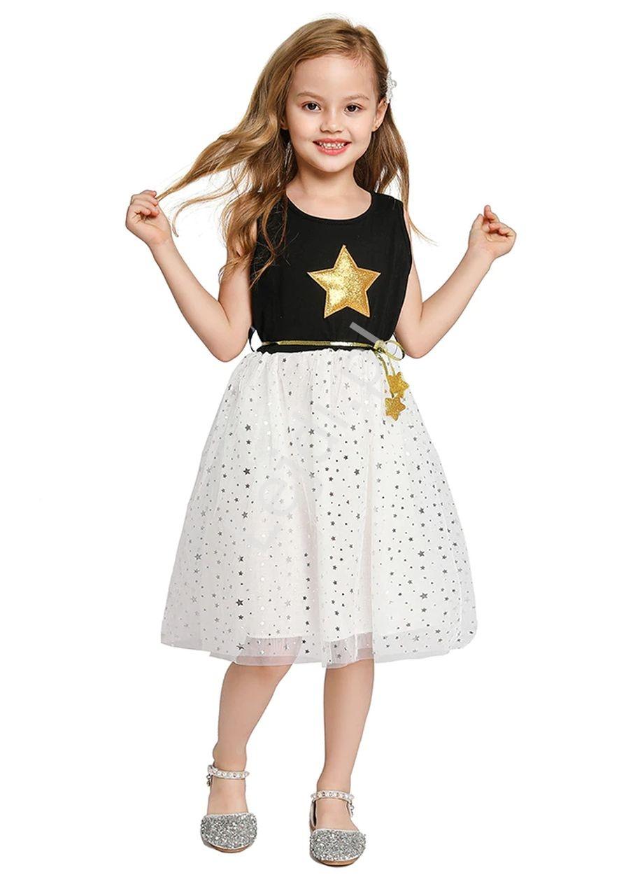 Image of Bawełniana sukienka dla dziewczynki z tiulową spódnicą w gwiazdki 289