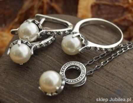 Image of Srebrny komplet perla z kryszt swarovskiego alli