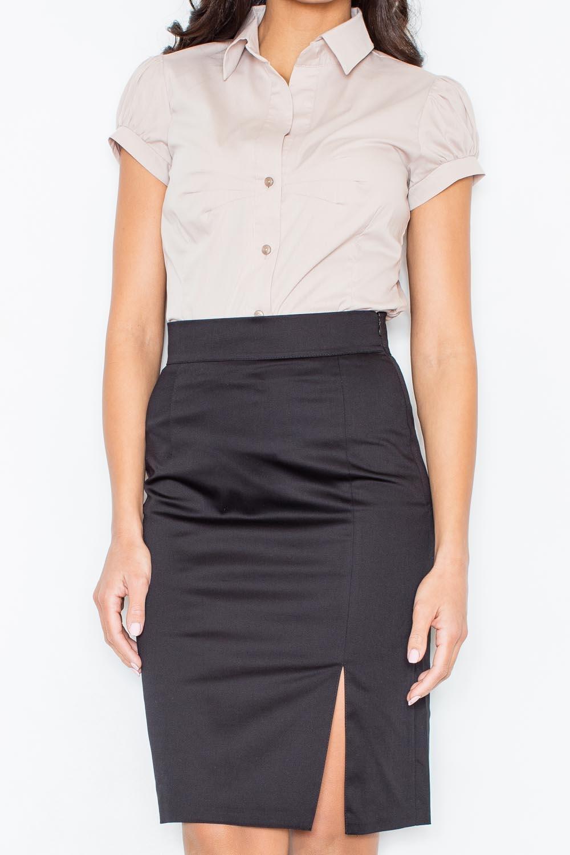 Image of Beżowa elegancka koszula z krótkim rękawem