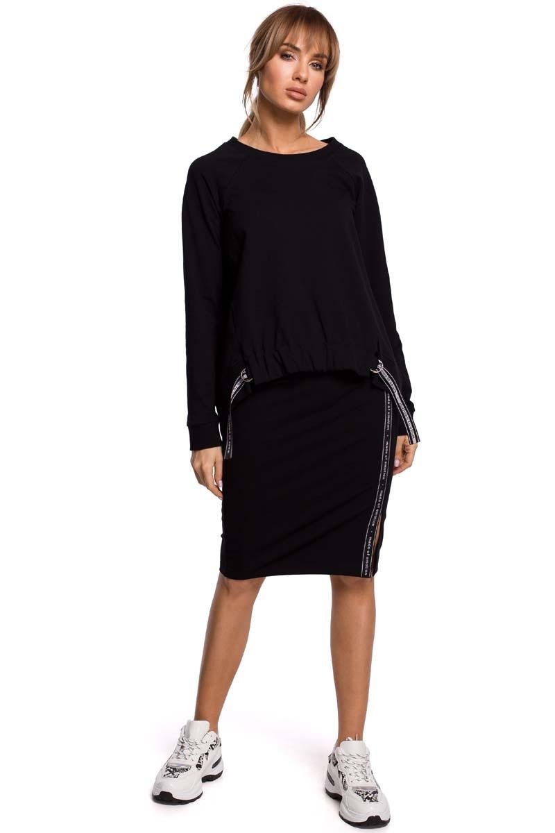 Asymetryczna bluza z lampasami - czarna