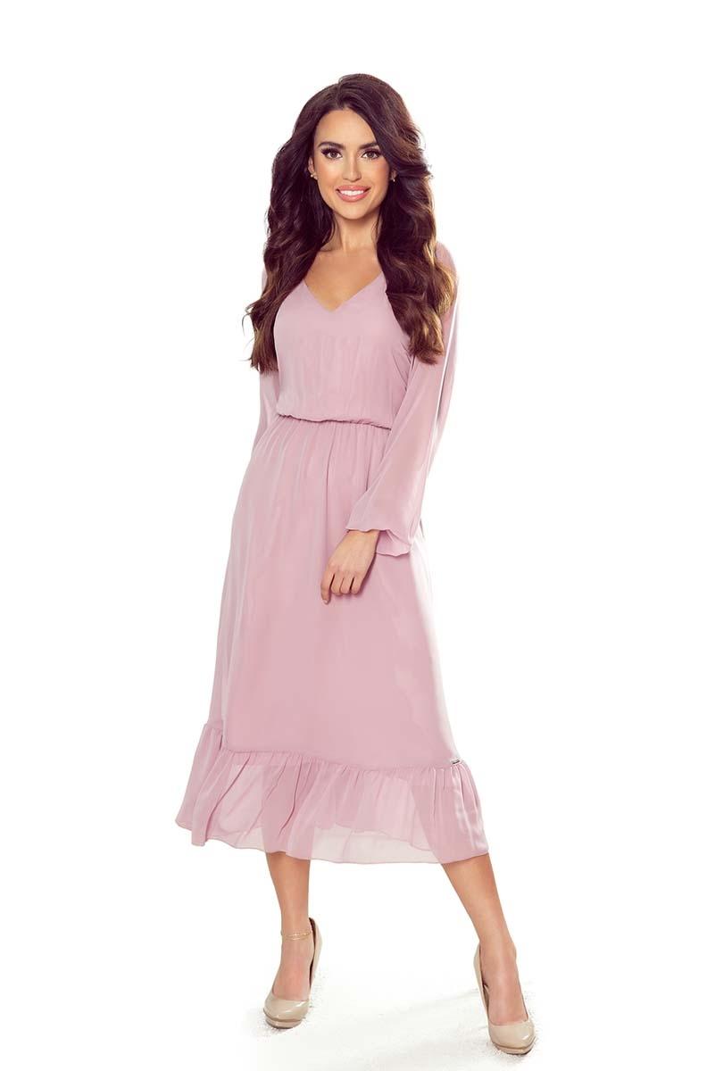 Szyfonowa sukienka midi z falbanką - różowa