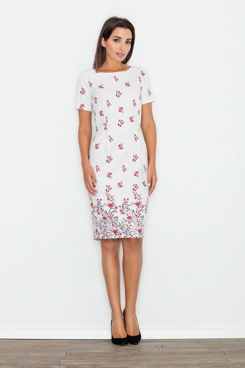 Modna ołówkowa midi sukienka w kwiaty wzór 60