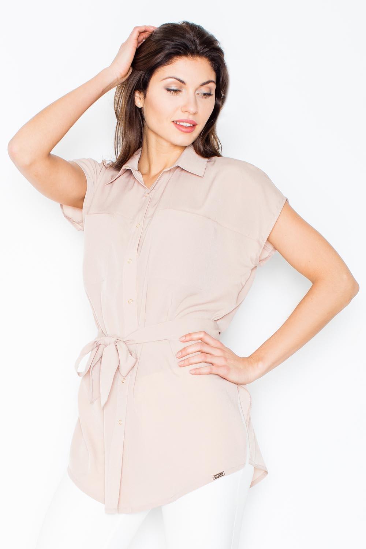 Image of Beżowa koszulowa tunika z krótkim rękawem z wiązanym paskiem