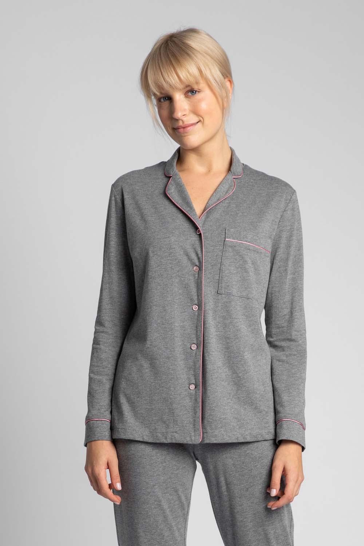 Image of Bawełniana koszula od piżamy z wypustkami - szara