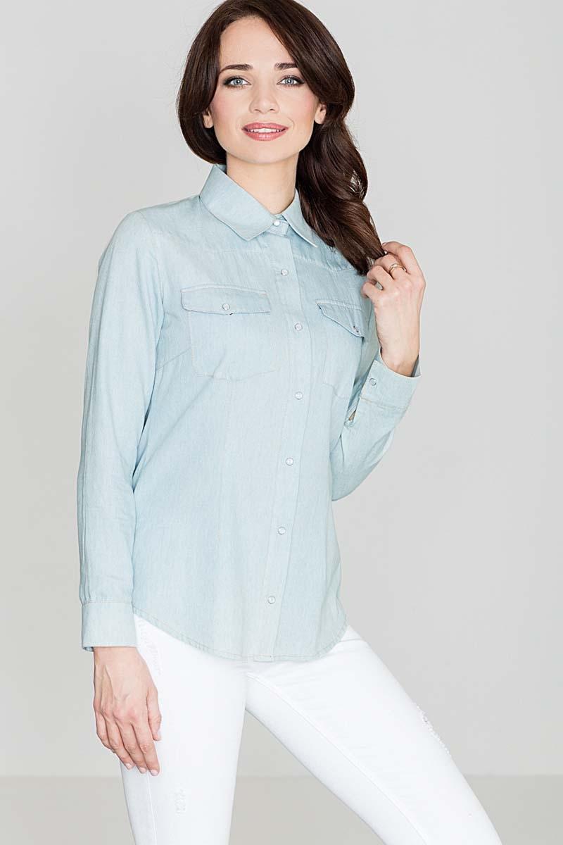 Image of Bawełniana klasyczna koszula na zatrzaski - niebieski