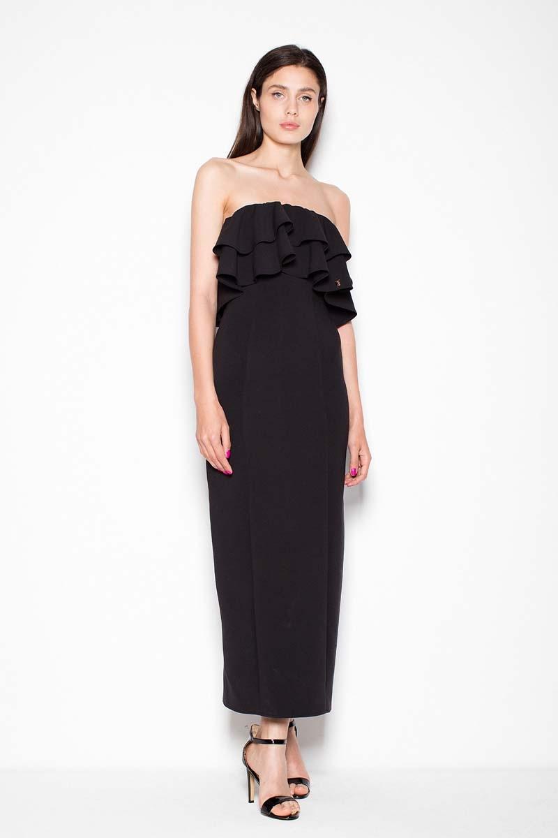 Czarna sukienka długa elegancka z falbankami