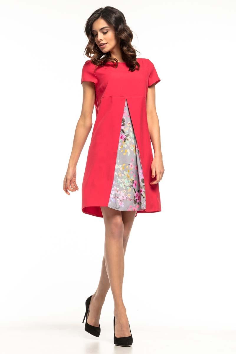 Malinowa trapezowa sukienka z wstawką w kwiatki