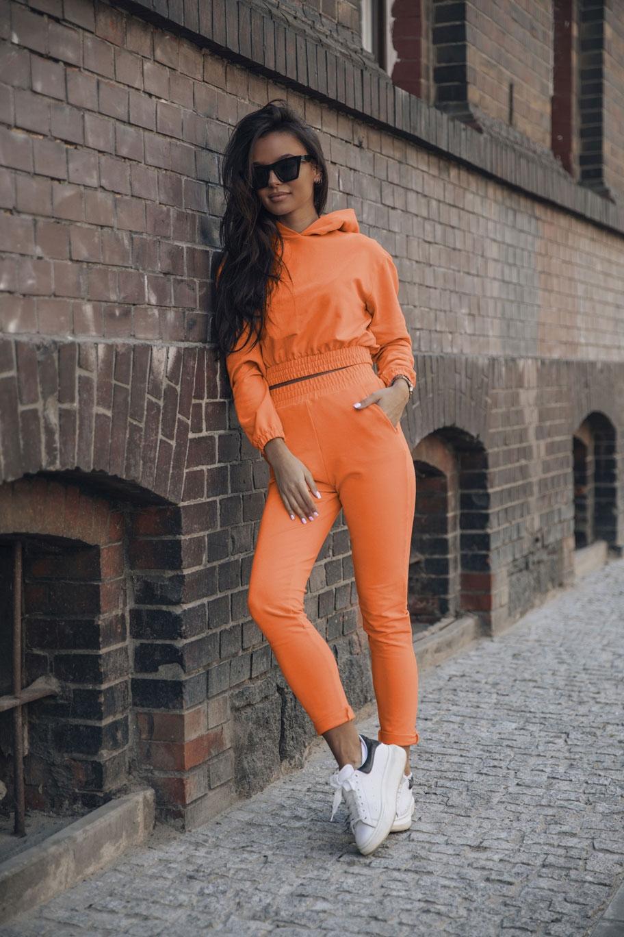 wygodny dres krótka bluza z kapturem i w? skie spodnie - pomarańczowy