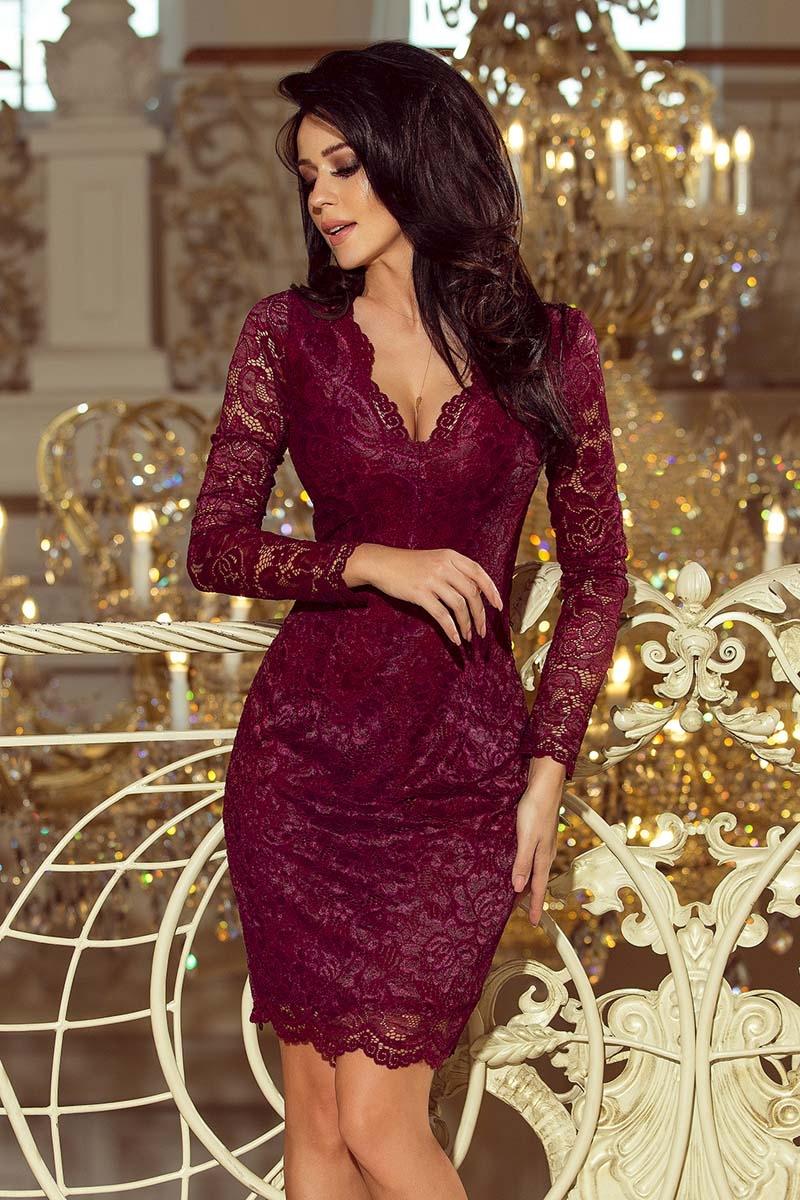 Bordowa koronkowa sukienka koktajlowa