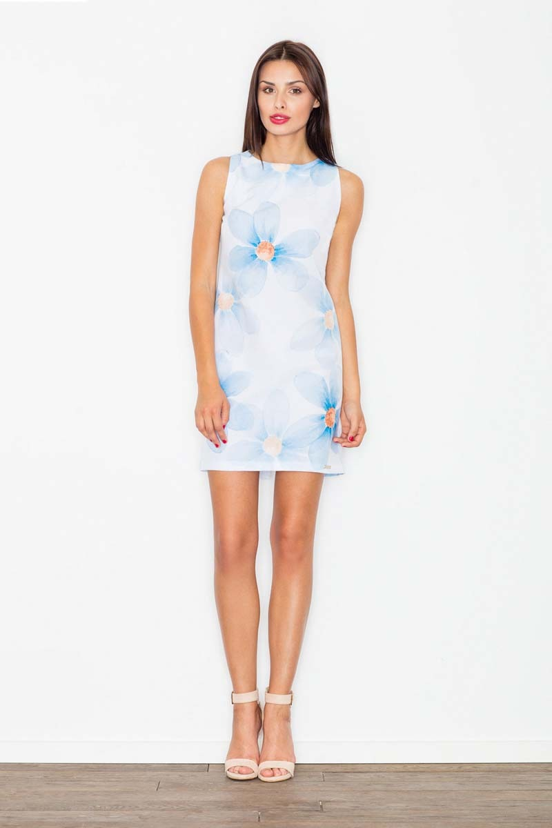 Sukienka we wzór kwiaty odcienie błękitu