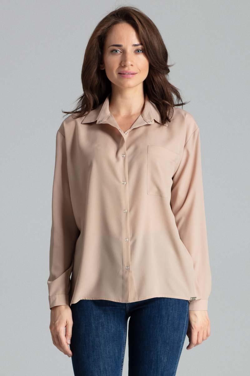 Image of Beżowa prosta koszula z kieszonką na piersi