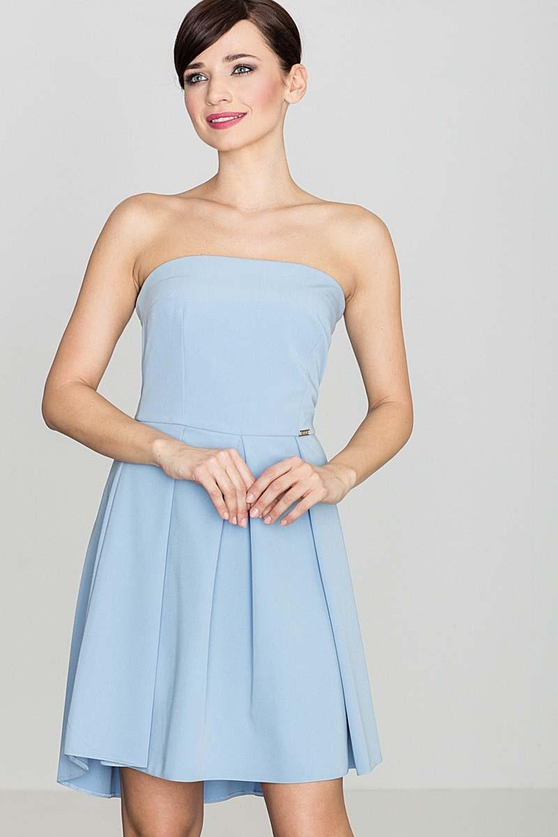 Elegancka niebieska gorsetowa sukienka z dłuższym tyłem