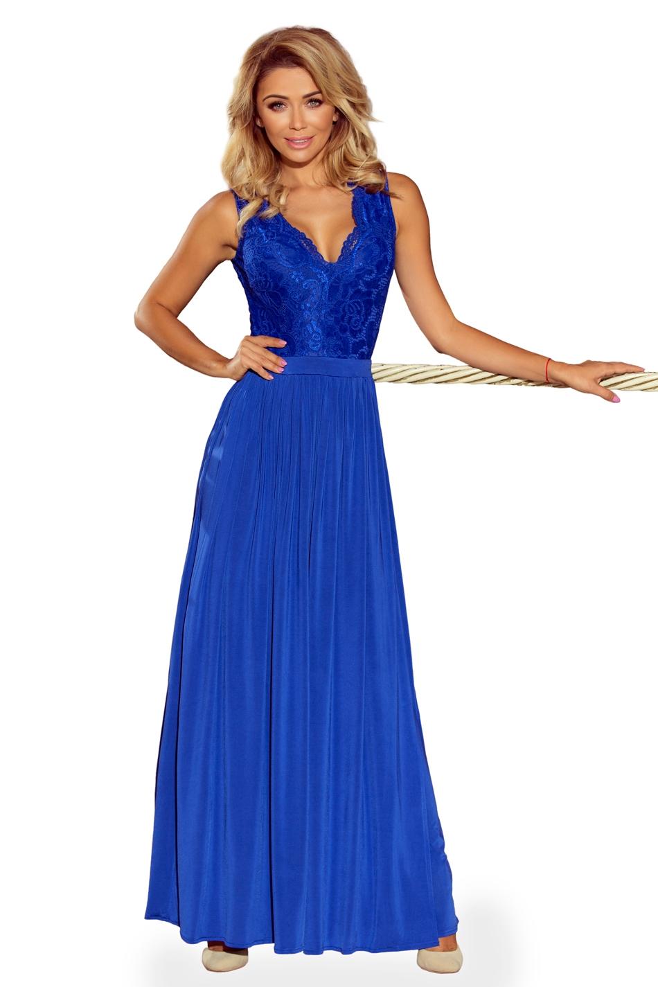 Chabrowa wieczorowa sukienka maxi z koronkową górą bez rękawów