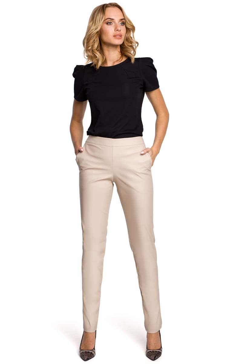 Image of Beżowe eleganckie spodnie rurki z eko-skóry