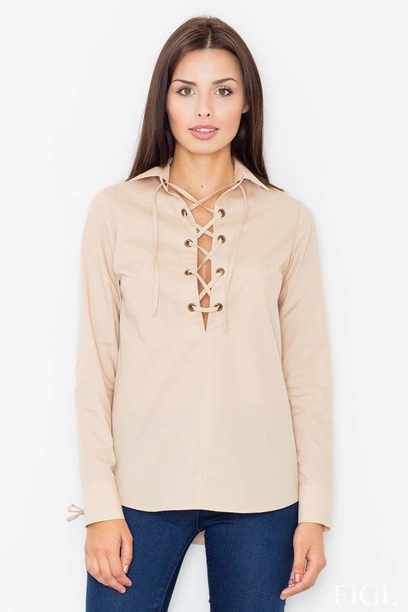 Image of Beżowa sznurowana koszula z długim rękawem
