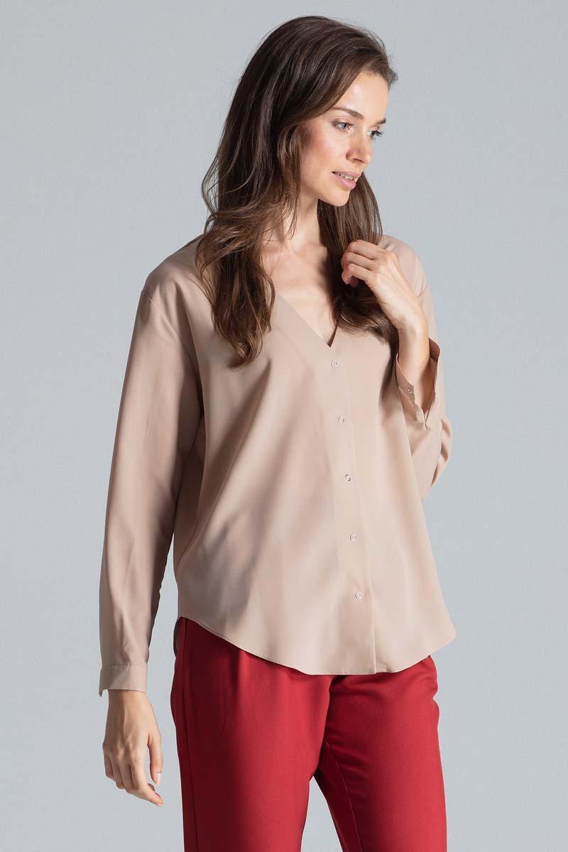 Image of Beżowa elegancka koszula z dekoltem w serek